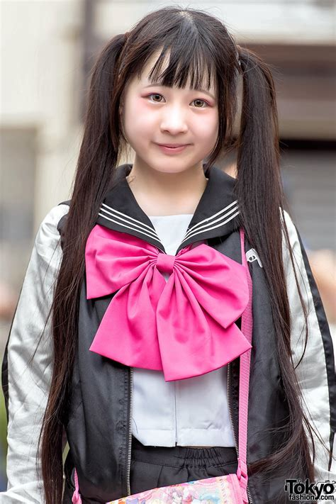 Harajuku Girl in Twintails, Sailor Top, Pleated Skirt