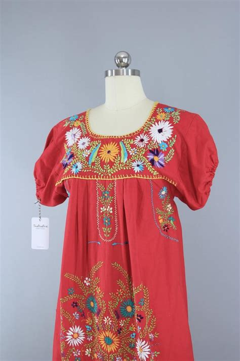 1970s Vintage Red Mexican Oaxacan Embroidered Huipil