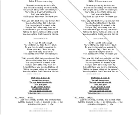 Song Worksheet: Animals by Maroon 5